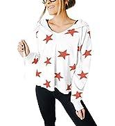Kisscynest Women's Long Sleeve V Neck Star Hoodie Sweatshirts Drawstring Casual Tops
