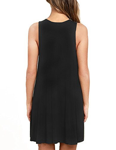 AUSELILY Women's Casual Loose Swing Basic Cotton Tunic Dresses Tank Dresses M, Black by AUSELILY (Image #2)
