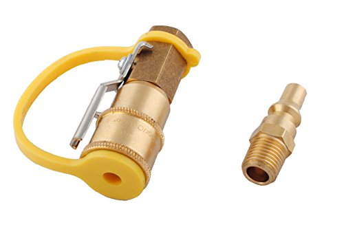 Wadoy Gas Valve & Full Flow Plug Propane Quick Connect Adapter Kit 1/4