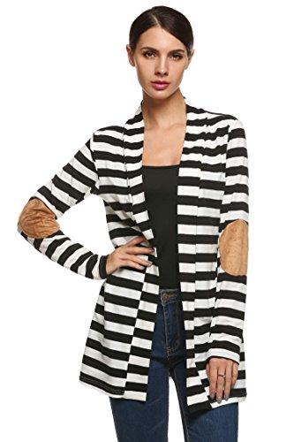 - ANGVNS Women Cotton Casual Long Sleeve Jacket Striped Coat Cardigans Outwear (Medium, Black)