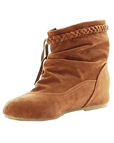 Botines Calentar Cómodo E Marrón Invierno Botas Cargadores Minetom Mujer Zapatos Flecos De Otoño Moda qUpwxBT7fn