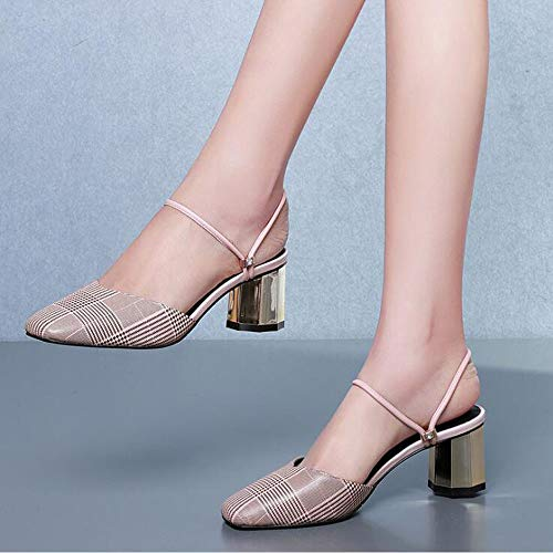 Sandali Dimensioni Moda Donna Pink Colore da 39 in Sandali Tacchi Plaid Baotou Pelle Tacchi Donna Spessi a6rUa