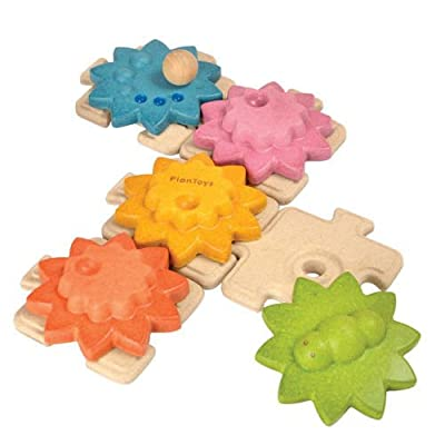 PlanToys 12 Piece Wooden Gear Set (5634) | Sustainably Made from Rubberwood and Non-Toxic Paints and Dyes | Eco-Friendly PlanWood: Toys & Games