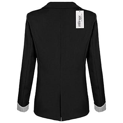 Meaneor Women's Cuffed Sleeve One Button Oversized Boyfriend Blazer for Office Lady