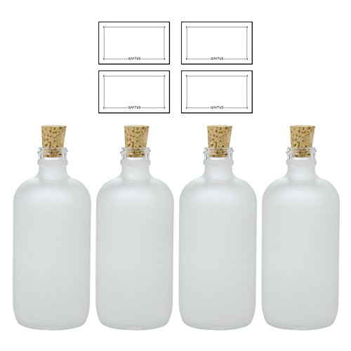 8 oz Frosted Clear Glass Boston Round Bottle with Cork Stopper Closure (4 Pack) + ()