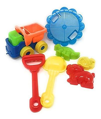 Beach Sand Toys Set Dump Truck, Shovels, Rakes & 3 Shape Molds (dog, Dinosaur and fish) - Cars Mega Mack Playset