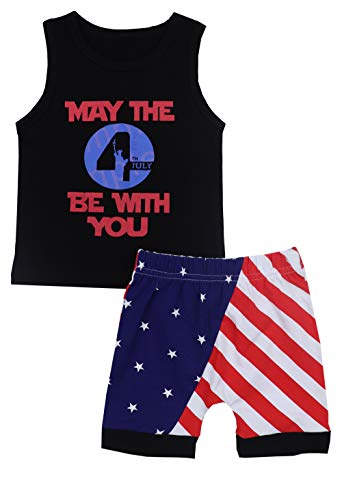 4th of July Baby Boys Outfits Sleeveless T-Shirt Top with American Flag Short Pants Independence Day Sets 2-3T Black