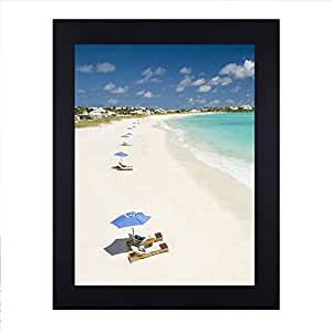 Adeco 11x14 Wide Margin (1.25 inch) Black Wood Wall Hanging Poster Picture Photo Frame - Made to Display 11x14 Photo