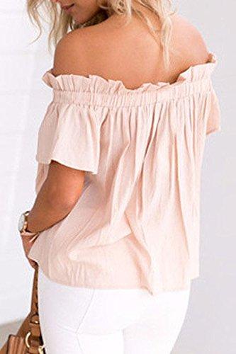 La Mujer Elegante Off Shoulder Ruffle Top De Manga Corta T - Shirt Blusas apricot