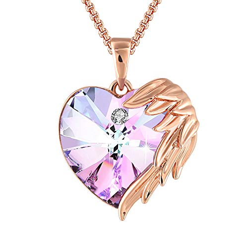 QLEESI Love Heart Pendant Necklace with Swarovski Crystals, Rose Gold Wing Purple Charm Necklaces for Women Daughter Best Gifts