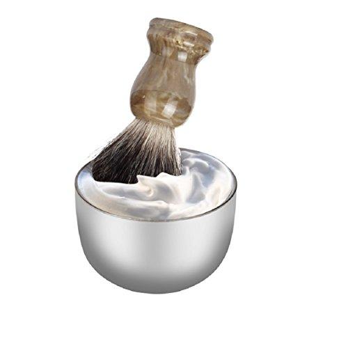 Ikevan Fashion Stainless Steel Metal Men's Shaving Mug Bowl Cup For Shave Brush (No Shaving Brush )