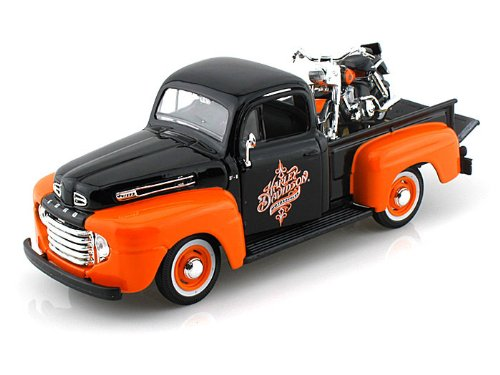 1948 Ford F1 Harley Davidson Truck 1/25 & 1958 FLH Duo Glide Black Over Orange