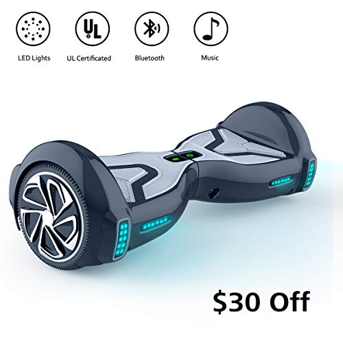 TOMOLOO Hoverboard for Kids and Adult, 6.5″ Two Wheels App Controlled Electric Self Balancing Scooter UL2272 Certified