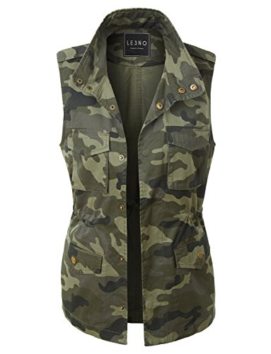 LE3NO Womens Safari Camo Drawstring Waist Military Anorak Vest with Pockets (Camouflage Vest)