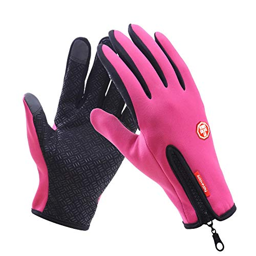 (Ocamo Motorcycle Gloves Touch Screen Full Finger Gloves Winter Warm Ski Gloves Windstopper Riding Glove pink L)