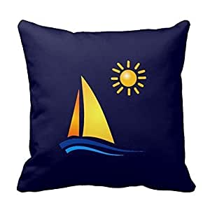 Boat and Sun Pillowcases Personalized 16x16 Inch Square Cotton Throw Pillow Cover Twin Sides