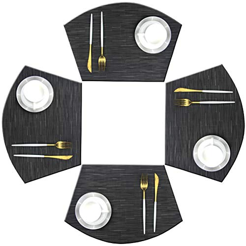 Bright Dream Wedge Placemats for Round Kitchen Table Woven Vinyl Non Slip Plastic Table Mats Set of 4(Black) (Round Placemats Table)