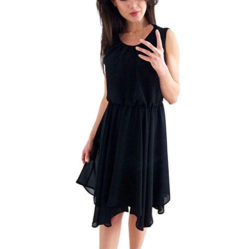 Damen Elegant Kleider T-Shirt Kleid Ärmelloskleid Hülsen Strandkleid Lose Einfache Einfarbig Maxi Kleidet beiläufige Lange Farbe Chiffon Poncho Frauen Freizeit Slim Prinzessin Kleid Schwarz