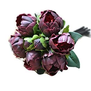 """Meide Group USA 14"""" Real Touch Latex Mini Peony Bunch Artificial Spring Flowers for Home Decor, Wedding Bouquets, and centerpieces (6 PCS) (Wine) 4"""
