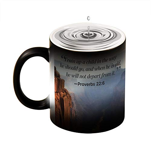 Bible Quote Train A Child In The Way He Should Go Novelty Ceramic Heat Sensitive Color Changing Coffee Tea Mug Gift, 11 Ounce Black