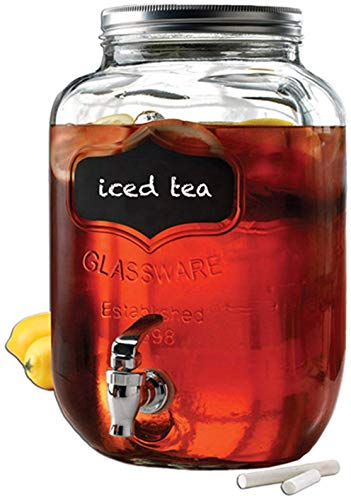 Circleware 92003 Chalkboard Sun Tea Mason Jar Beverage Dispenser, Fun Party New Entertainment Home Kitchen Glassware Pitcher for Water, Juice, Beer, Punch & Iced Cold Drinks, Yorkshire, 2 Gallon