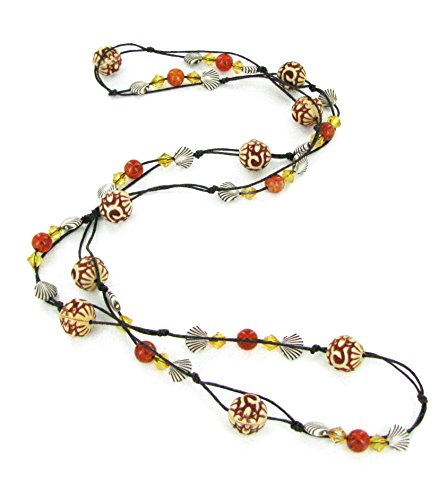 Bicone Antique - Linpeng Antique Style Carved, Shell Bicone Crystal & Marble Amber Beads Long Necklace