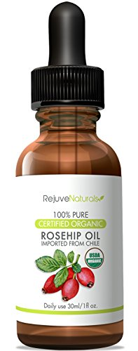 Organic Rosehip Oil ~ 100% Pure and Unrefined Virgin Rosehip Seed Oil, 1 oz ~ Anti Aging, Antioxidant Rich Skin Moisturizer for Improving the Look of Face Wrinkles, Scars, Acne & Stretch Marks