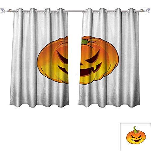 Dragonhome Room Darkening Wide Curtains Cartoon Pumpkin for The Holiday Happy Halloween Vector illustration1 Thermal Insulated Room Darkening Window W55 x L39/Pair ()