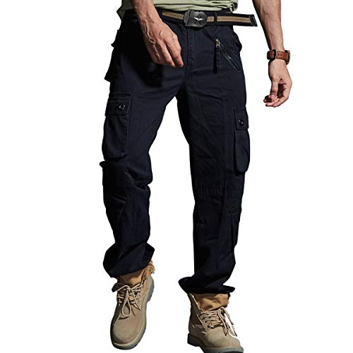 Men's Tactical Casual Pants Cargo Work Outdoor Cotton Hiking Army Military Combat Multi-Pocket Duty Trouser (Black, 30)