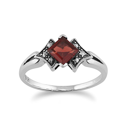 Art Deco Marcasite Ring - 925 Sterling Silver Art Deco Garnet & Marcasite Ring