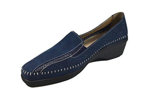 Linea 243 Scarpe Casual Donna Blue Pelle Comoda In Scamosciata Vera B17T1