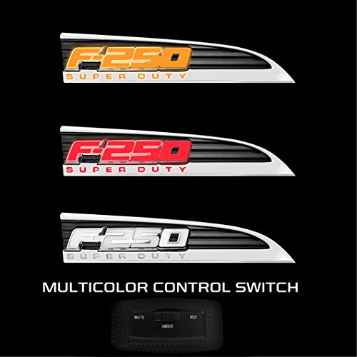 CHROME Ford Super duty F250 LED Lighted Fender Emblems 2011,12,13,14,15,16 PAIR By Recon
