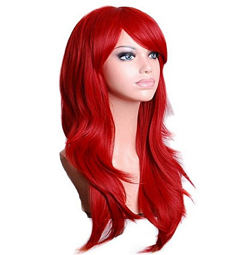 Cosplay Wigs Red Long Hair Anime Costume Party Wigs 28 Inch Full Head Synthetic Wavy Halloween Wigs for (Red Hair Halloween Costume)