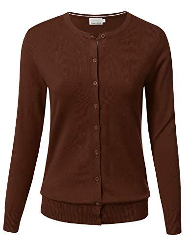 Mocha Studio - ARC Studio Women Button Down Long Sleeve Crewneck Soft Knit Cardigan Sweater 3XL Mocha Dark Wheat