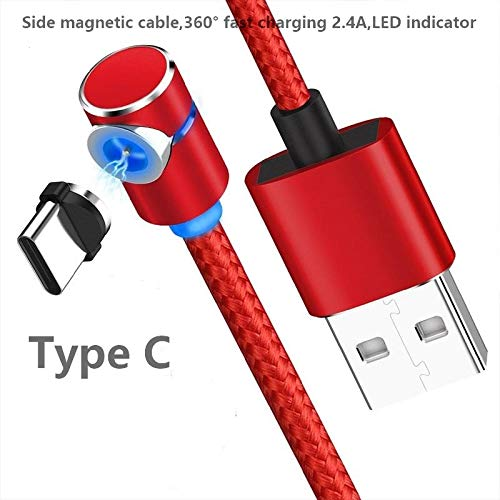 Side Magnetic Charger Charging Cable for Micro USB Android Type C Phone Pad Tablet Xbox Devices.360° Round Max 2.4At Fast with Soft LED Indicator. (Red- Type C)