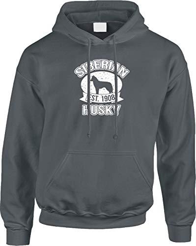 Blittzen Mens Hoodie Est 1908 Siberian Husky, XL, Charcoal (Club Kennel Siberian Husky)