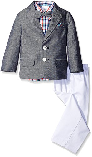Nautica Little Boys' Toddler Linen Cotton Twill Duo Set with Bow Tie and Hanky, White, 2T