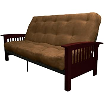 Beautiful Epic Furnishings Brentwood Mission Style 8 Inch Loft Inner Spring Futon Sofa  Sleeper Bed, Queen Size, Mahogany Arm Finish, Microfiber Suede Chocolate  Brown ...