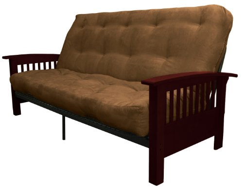 Epic Furnishings Brentwood Mission-Style True 8-inch Loft Cotton/Foam Futon Sofa Sleeper Bed, Full-size, Mahogany Arm Finish, Suede Chocolate