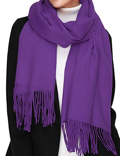 Cashmere Wool Scarf,Large Soft Women Men Scarves Winter Warm Shawl Gift Package (Dark Purple)