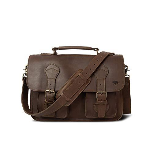 Full Grain Cow Leather Briefcase for Men | Denver by Buffalo Jackson | Messenger Bag Fits 13
