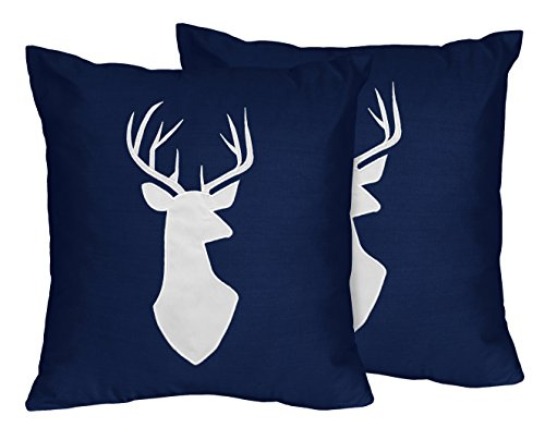 Sweet Jojo Designs 2-Piece Navy White Deer Decorative Accent Throw Pillows for Navy Blue, Mint and Grey Woodsy Girls Bedding Sets