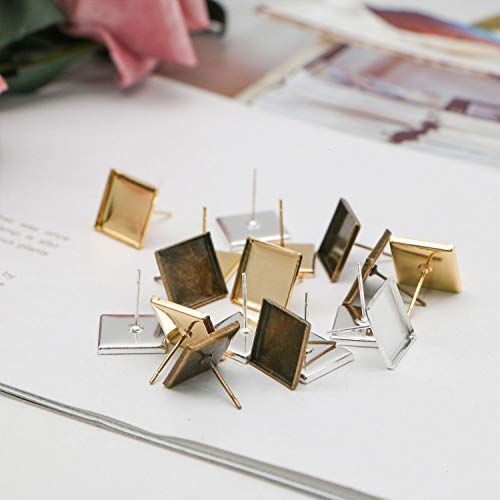 JETEHO 30 Pack 12mm Square Earring Studs Blank Base Findings Tray Bezel Setting Cabochon DIY Craft(Gold&Silver&Bronze) ()