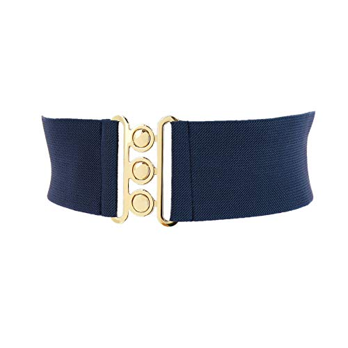 (FASHIONGEN - Wide Waist Elasticated Woman Belt Made in France, GLORIA - Navy blue, 3XL / pants 18 to 24)