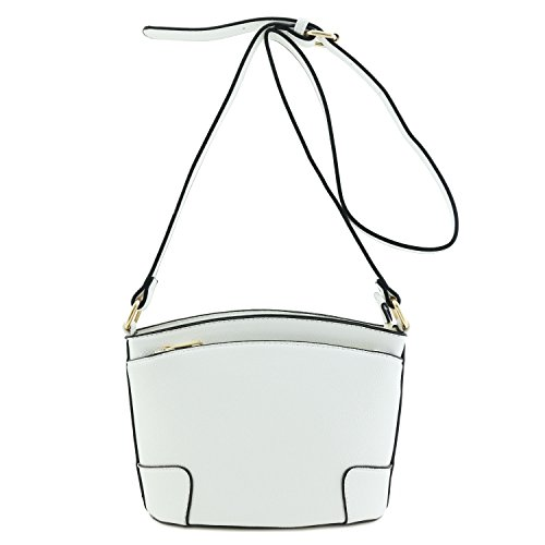 Small White Double Classic Zip Crossbody Bag afBTPwq