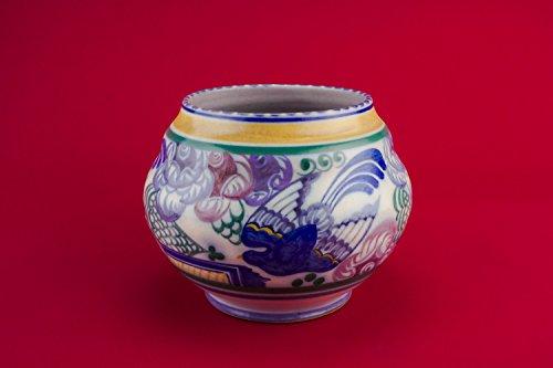 Vintage Pottery Floral Globular Carter Stabler Adams Art Deco VASE Elegant Small Unique Blue Gift Rare 1930s English LS (Adam Vase)