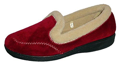 Mirak Slip On-Pantofole da donna stile Maier 4-8 colore bordeaux