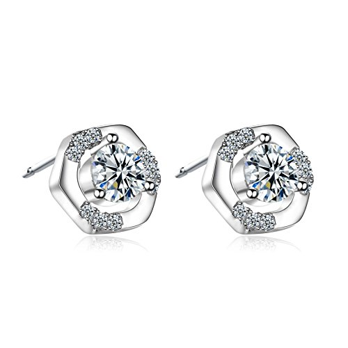 18k White Gold Stud Earrings Classic Style Zirconia Diamond Elegant By CONNIE.Y