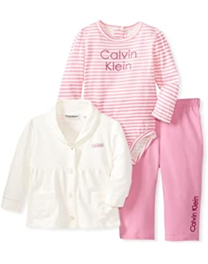 Baby-Girls Newborn Cream Jacket With Bodysuit And Pink Pants