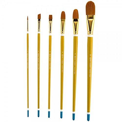 Qualita Golden Taklon Brush Long Handle Value Set of -